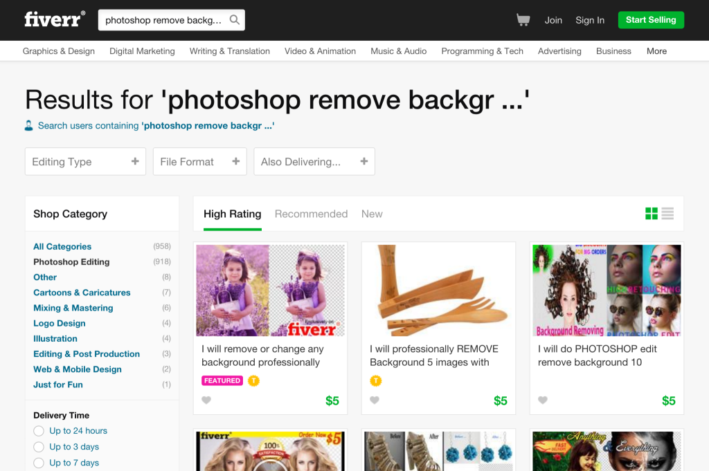 "Fiverr search results for ""photoshop remove background"""