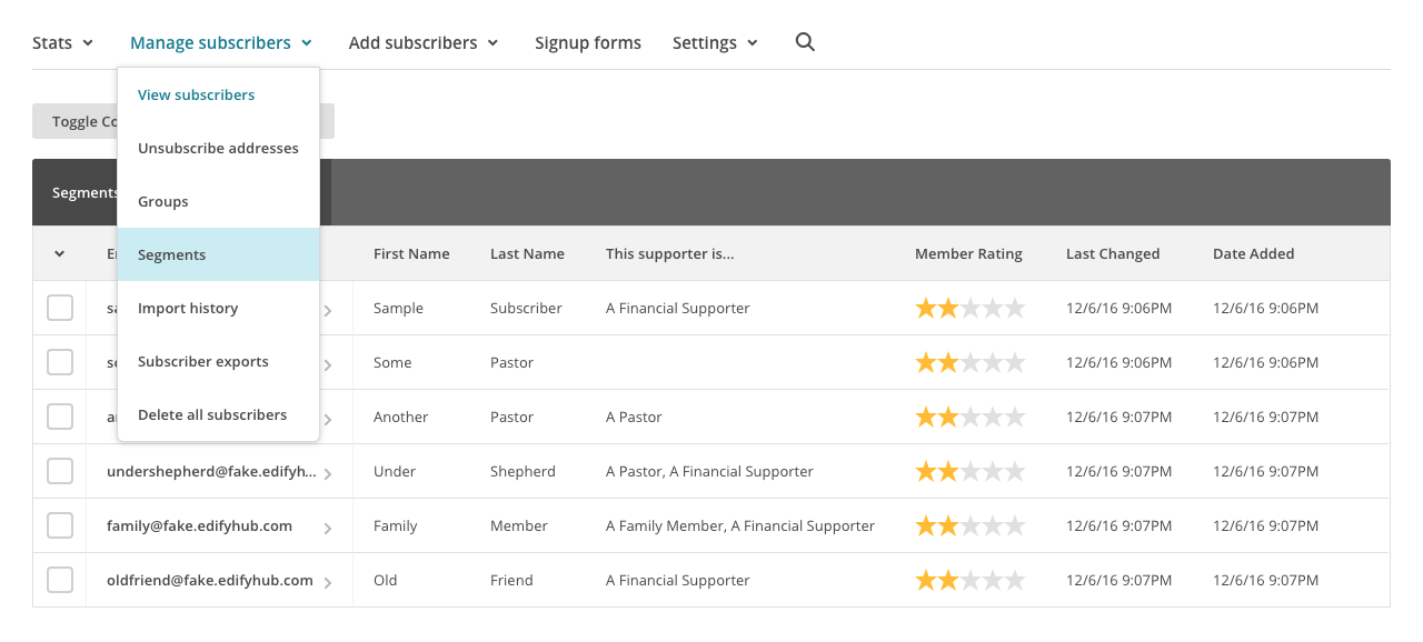 Manage Segments of Subscribers