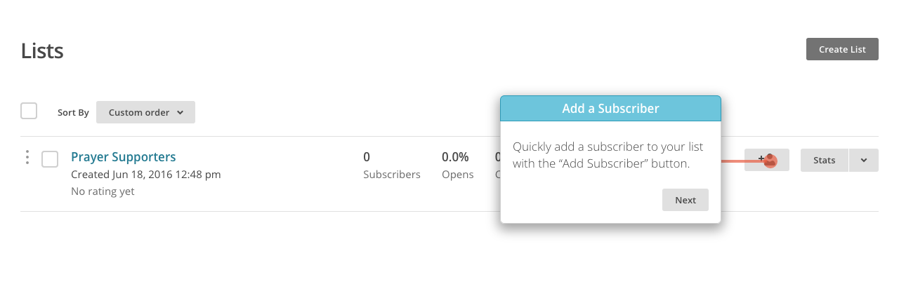 Lists page in MailChimp